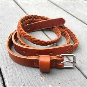 Gap genuine leather thin braided buckled belt XS